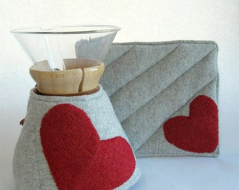 Felted Cashmere Wool Chemex Cozy and Warming pad-Gray-Red Heart-Valentines Day-6 cup size