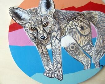 Fennec Fox Tangle Original Painting