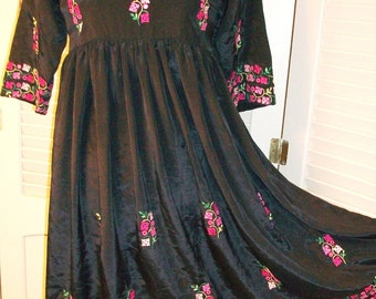 VINTAGE Bohemian DRESS, Embroidered  European or India Made. Rose Pink & Mauve Flowers, Shimmering Discs on Silky Black