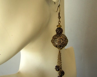 Ornate Garnet Drop Dangle Earrings Etruscan Middle East Inspired - Hand Made