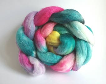 Wild Flower Meadow Organically farmed Merino/Mulberry Silk combed tops for spinning