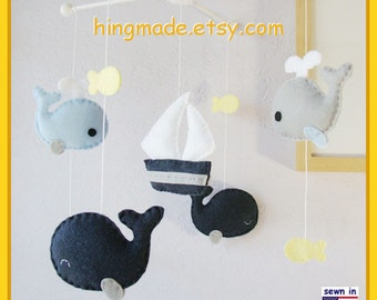 Baby Mobile, Baby Crib Mobile, Whales Mobile, Sailboat Mobile, Whale and Sailboat Mobile, Navy Baby Blue Gray Yellow