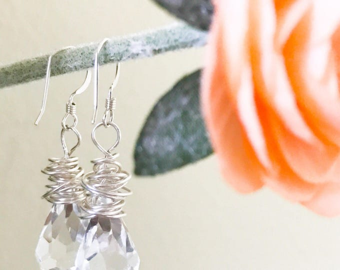 Featured listing image: Bridal Earrings // Crystal Teardrops and Sterling Silver