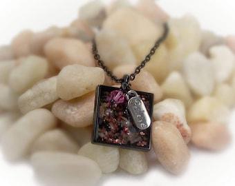 Faith Necklace Believe Necklace Tourmaline Necklace Pink Tourmaline Resin Jewelry Black Necklace Charm Necklace Cross Necklace - 15023