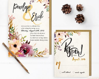 Watercolor Botanical Wedding Invitations, 5x7, Wedding invitations, wc0001