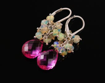 Hot Pink Quartz Ethiopian Welo Opal Earrings, Fuschia Rainbow, Sterling Silver, Gemstone Cluster, Leverback, Pink and White