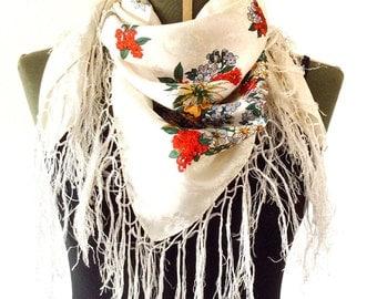 Coachella birthday gift for best friend, bohemian scarf, silk scarf vintage, gypsy scarf, boho scarf, fringe scarf shawl, flower scarf
