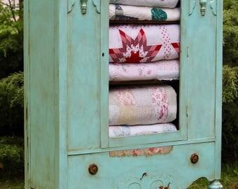 T U R Q U O I S E, Antique Quilt Chest, Aqua Shabby Chic Cabinet