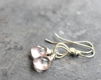 Rose Quartz Earrings Petite Pink Drop Teardrop Gemstone Earrings Sterling Silver