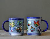 blue butterfly mexican pottery mugs   vintage ceramic coffee cups  set of 2   rustic boho coffee mugs