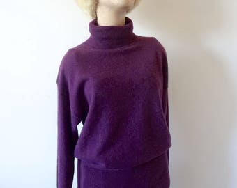 1980s Wool & Angora Sweater - vintage pullover turtleneck cassis color knit top