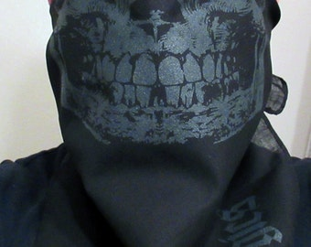 DARK KNIGHT Black skull on black cotton bandana scarf mad max gaiter dust shield Shemagh Tactical Swat vogue balaclava ninja Gothic urban