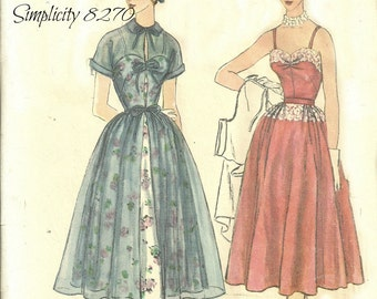 Simplicity 8270 Narrow Strap Dress Full Skirt with Redingote Size 12 Bust 30 FF