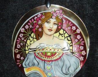 Handpainted Lacquer pendant Mother of Pearl Reverie portrait necklace by Mucha Art Nouveau