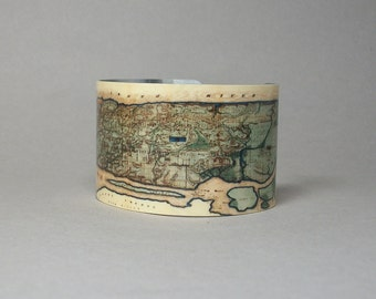 Cuff Bracelet NYC New York City Manhattan Vintage Map Wide Unique Gift for Men or Women