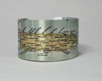 Cuff Bracelet Puerto Rico Virgin Islands Unique Travel Hometown Map Gift for Men or Women