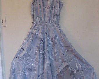 Rockabilly Retro Swing Style 1980's Dress Guitar Artsy Pattern