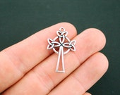 2 Celtic Cross Charms Antique Silver Tone 2 Sided - SC6162