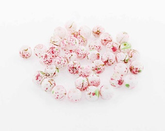 35 Glass Beads 6mm Abstract Design with Midnight, Pink and White - BD119