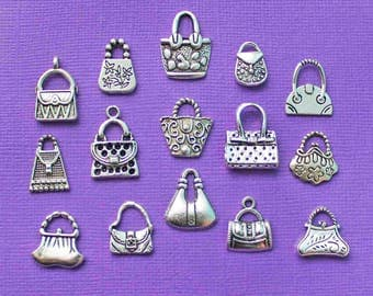 Handbag Deluxe Charm Collection Antique Silver Tone 15 Different Charms - COL053