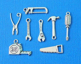 Tool Charm Collection Antique Silver Tone 8 Different Charms - COL041