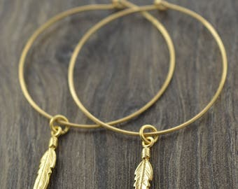 """Feather Gold Hoop Earrings, Big Hoop Earrings, 14K Gold Filled Hoops, Any Size up to 2"""" Simple Hoop Earrings, Large Hoops, Thin Hoops"""