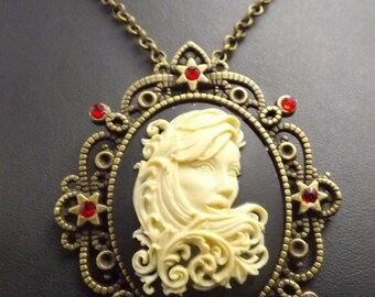 Filigree Lady, Gothic jewellery, Day of the Dead, Dia de los Muertos , gothic necklace, cameo necklace, Filigree Lady cameo, Gothic Pendants