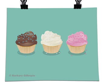 Cupcake Flavors, 8x10 Poster, Vector Illustration