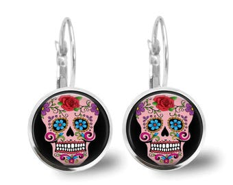Sugar Skull Earrings Tile Earrings Tile Jewelry Day of the Dead Jewelry Sugar Skull Jewlery Beaded Jewelry Silver Earrings Silver Jewelry