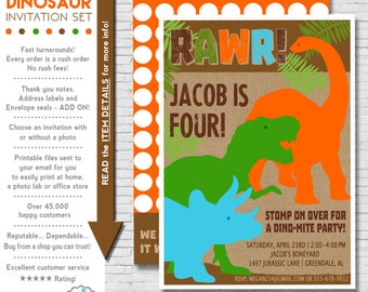 Dinosaur Birthday Invitation Printable | Dinosaur Party | Dinosaur Birthday Invite | Boys Birthday Party Invitation | Amanda's Parties To Go