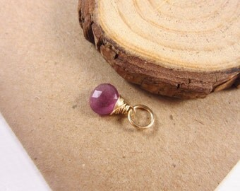 Dark Pink Sapphire Pendant - 14k Gold Charms - Sapphire Birthstone Jewelry - Natural Stone Jewelry - September Birthstone Charms