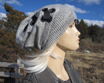 Bohemian Clothing Women's Slouch Tams Slouchy Beanies Black White Heather Cotton Knit Hat Ribbon Corset Lace by Vacationhouse A1610-B