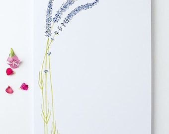 Stationery Notepad | Large Illustrated Notepad | Lavender | Floral Stationery