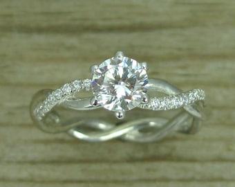 Moissanite Engagement Ring, Moissanite Engagement Infinity Ring, Infinity Moissanite Ring, Moissanite Infinity Knot Engagement Ring