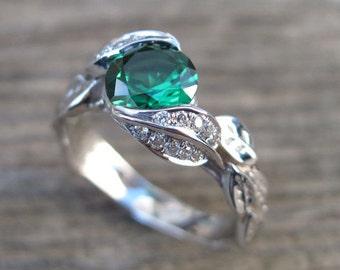 Gold Leaf Ring, Emerald Leaf Engagement Ring, Emerald Engagement Ring, Leaves Ring, Leaf Ring With Emerald, Wedding Floral Green Leaf Ring