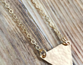 Triangle Necklace - 14kt gold filled triangle necklace, hammered gold triangle, geometric necklace, gold flag necklace, layering necklace
