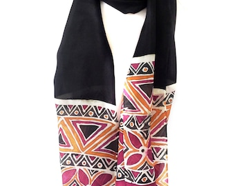 Silk scarf Geometric scarf Friend gift Gift for friend Black silk scarf Black scarf Batik scarf Indian silk sari scarf Silk neck scarf
