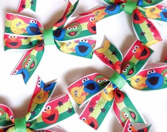 2 Monster Elmo Boutique Bows, Little Girl clips, hair accessories, Girl bows, Boutique Hair bow Clip Set, Ribbon bows