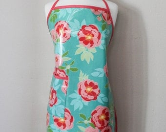 Womens Waterproof Apron Gardening Apron Dogwashers Apron in Turquoise with Coral Flowers