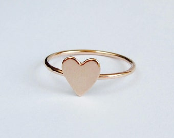 Heart ring, initial ring, gold heart ring band, silver heart ring, stacking ring. Personalized gift.