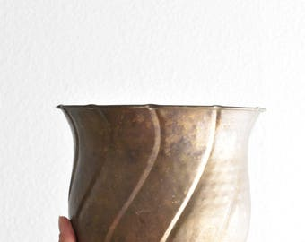 vintage aged brass planter with swirl design / small