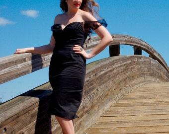 Elizabeth - Sexy Black Dress, Fitted Dress, Black Dress, Lace Dress, Off Shoulder, Pin-up, Vintage, Cocktail, Gypsy, Eveningwear