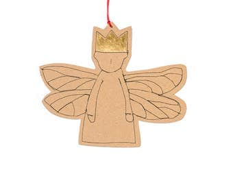 Guardian angel , gold foil gift tag , Hanging Ornament , brown paper doll , Hanging Angel , rustic christmas , nursery decor , country style