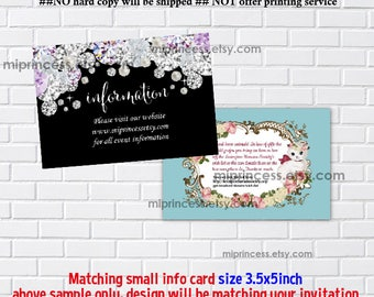 Reserved for someone purchased invitation - ADD ON option, Matching 3.5x5inch small card, insert card, infomation card, address card
