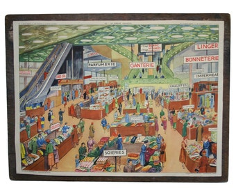 French School Poster 1950s The Department Store/Mountain Transport