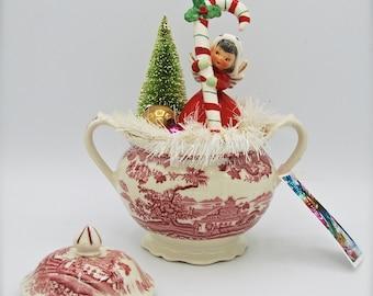 Vintage Christmas Scene in Pink Transfer Sugar Bowl w/1958 Napco Angel-Candy Cane-Bottlebrush Tree