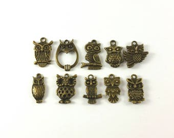 Lot of 10 pcs Owl Pendant Collection 10 Style Antiqued Bronze C-198A