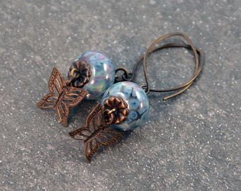 Victorian Romantic Boho Blue Violet Green Yellow Handmade Lampwork Glass Beads Butterfly Antique Brass Earrings Dangle