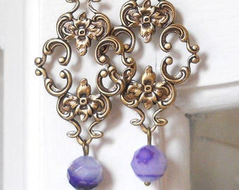 Victorian earrings purple chandelier earrings agate earrings dangle earrings vintage style jewelry stone earrings