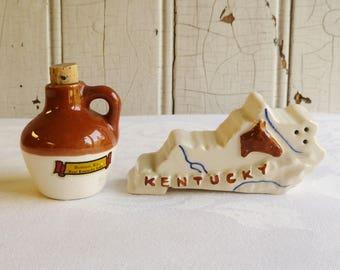 Vintage Kentucky Souvenir Salt and Pepper Set - State Shape, Brown Jug - Benton Kentucky - Kentucky Lake - Mid-Century 1960s